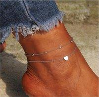 ingrosso fascini di piedi d'argento-Cavigliera fascino cuore d'oro catenella e del metallo placcato argento catena del piede delle donne 2pcs / bag calzino regalo
