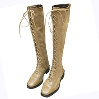 Wholesale overknee boots thigh high resale online - Sexy Over The Knee Boots Women Winter Boots Women Square Heels Suede Overknee Winter Shoes Woman Thigh High