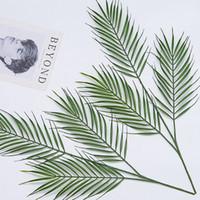 ingrosso foglie verdi in plastica-3 teste Big Green Palm Leaves piante artificiali per vaso Pianta in plastica foglia artificiale Home Office Decoration fai da te appeso foglie artificiali