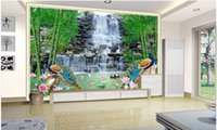Wholesale lotus wallpaper home for sale - Group buy WDBH d room wallpaper custom photo Landscape waterfall bamboo lotus peacock background home decor d wall murals wallpaper for walls d
