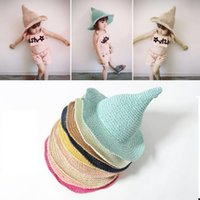 ingrosso cappelli della visiera della bambina-Cappello di paglia per bambini Bambini Sole estivo estivo Primavera Bimbo per bambini Berretti da spiaggia Cappelli intrecciati a mano Witch Spiky Visiera parasole Rrass Braid Hat AAA2239