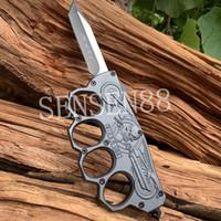 çinko bıçağı toptan satış-Orijinal eldiven kabartmalı Otomatik Çinko alüminyum alaşım Taktik Bıçak 440C Açık Balıkçılık Kamp bıçaklar Multifunton el edc araçları