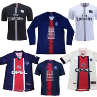 Wholesale football jersey s resale online - SIZE S XL PSG anniversary Edition LONG Soccer Jersey retro PSG Simone Okocha Classic Vintage Paris Maillot de Football Shirts