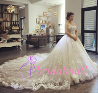 Wholesale wedding robes online - Robe de mariée White Appliqued Tulle Wedding Dresses Sweetheart Neck Boho Garden Bridal Gowns Plus Size Custom Made Vestidos De Novia