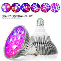 lampara led 54w al por mayor-Full Spectrum LED Grow Light E27 15W 21W 27W 36W 45W 54W Lámpara de cultivo para plantas florecientes Sistema hidropónico 85-265V