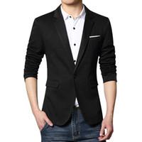 traje ajustado al por mayor-Traje homme hombres traje chaqueta chaqueta slim fit moda nuevo 2019 terno masculino solo botón traje blazer hombre más tamaño d90708