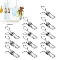 clips polyvalents achat en gros de-20pcs multi-usages en acier inoxydable clips vêtements pinces pinces supports vêtements pinces étanchéité clip ménage pince à linge
