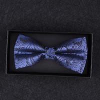 pajarita azul paisley al por mayor-Bernoulli de alta calidad de los hombres de moda azul Paisley Bowtie boda mariposa pajarita novedad esmoquin corbata ajustable B-028