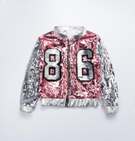 dança trajes jaqueta venda por atacado-Crianças rosa de prata jaqueta de lantejoulas blazer traje de dança para meninas primavera outono manga longa meninas casacos e jaquetas