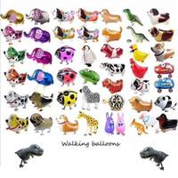 animales de cumpleaños al por mayor-Caminar Mascota Globos Animal Helio Aluminio Papel de Aluminio Globo Unicornio Globos Sellado Automático Juguetes de Fiesta de Cumpleaños Decoración GGA2064