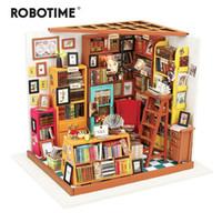 исследование куклы оптовых-Robotime Diy Sam's Кабинет С Мебелью Дети Взрослый Миниатюрный Деревянный Кукольный Дом Модель Строительные Наборы Кукольный Игрушка Dg102 Q190611