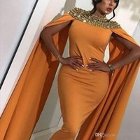 gelber meerjungfrau kleid schlitz großhandel-Arabisch Gelb Satin Lange Ballkleider 2020 Atemberaubende Perlen Kristalle Abendkleider Dubai Abendkleider Back Slit Formelle Partykleider