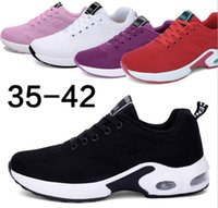 размер обуви eu оптовых-2020 Big Size Women Casual Shoes Fashion Mesh Sock Sneaker Black Red Platform Trainers Breathable Lace-up Running Shoes with Box EU 35-42