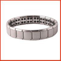 jóias de titânio de germânio venda por atacado-Pulseiras de saúde magnético poder GE titanium aço Energia Magnética 80 Germânio Pulseira De Energia balanço de energia bangles moda jóias 160816