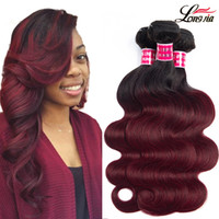 Wholesale burgundy human hair weft extensions resale online - T1b burgundy body wave Ombre body wave hair bundles Malaysian ombre human hair extensions body wave virgin hair