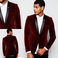 chaqueta color vino al por mayor-Burgundy Trajes de hombre Chaquetas Terciopelo Vino Rojo Traje Novio Groomsman Boda Esmoquin Blazer Abrigo de una pieza Bestman Greatcoat Business Tuxedos