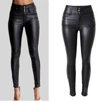 frauen skinny leder jeans großhandel-Frauen reizvolle Kunstleder Stretch-dünne Hosen-Dame Black mit hohen Taille dünner Jeans-Hosen