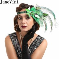 Wholesale ostrich hat feathers resale online - JaneVini Ostrich Feather Bridal Hair Accessories Green Butterfly Women Headband Blue Wedding Hats Fascinators Headdress