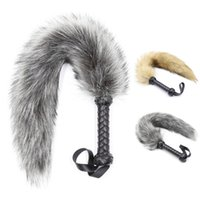 Wholesale sex fox tail for sale - Group buy Pu Leather Handle Fox Tail Fur Whip Fetish Ass Spanking Paddle Bondage Flogger Whip Bdsm Flirt Slave Erotic Sex Toys For Couples Y190716