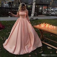 Wholesale flowers deco for sale - Group buy 2019 New Blush Pink A Line Evening Dresses Sexy Strapless Satin Floor Length Prom Dresses Abendkleider Dresses Evening Wear Formal Dress