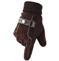 Wholesale brown leather cycling gloves for sale - Group buy fashion men winter warm sports gloves thick leather mountain MTB bike Cycling Gloves new touch screen long ski gloves christmas xmas gift