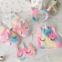 Wholesale accessories slippers online - Winter Plush Slippers Hearts Ice Cream Unicorn Hair Mask Bag Unicorn Indoor Shoes Girls Non slip Floor Slippers Cartoon Accessories GGA1442