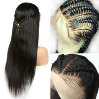 cabelo humano peruano peruca fechamento venda por atacado-Cheia Do Laço perucas de cabelo Humano Longo Reta Pré Enclampada E Branqueada Peruano Remy Lace Frontal Encerramento Peruca Para As Mulheres