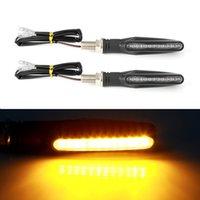 sarı sarı ışık led toptan satış-Motosiklet LED Dönüş Sinyali Işıklar Evrensel Göstergesi Flaşör Amber Motosiklet Lambası Bükülebilir Yanıp Sönen Sarı Kuyruk Işıkları