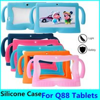 Wholesale android for china online – 200pcs Soft Silicone Tablet Case Shockproof Protector Cartoon Border Style quot Anti Dust Cover for Android Q88 Tablet PC