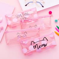 ingrosso penna rosa kawaii-Kawaii Pink Pencil Bag Lovely Cat Penna Pouch School Supplies Cute Stationery Girl Gift Cartoon Semplici Casi di matita per studenti