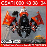 k3 gsxr verkleidungen großhandel-Rahmen für SUZUKI GSX-R1000 GSXR 1000 GSXR1000 03 04 Karosserie 15HC.65 Karosserie orange schwarz GSX R1000 K3 GSXR-1000 03 04 2003 2004 Verkleidungssatz