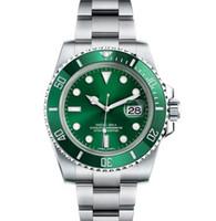 ss наручные часы оптовых-Дизайнер керамический ободок Mens New Green Men 2813 Механические SS Престижное Автоматические часы движение Спорт Self-ветер моды Наручные часы