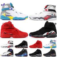 homens corajosos venda por atacado-Nike Air Jordan Retro 8 8 s Homens Sapatos de Basquete Dia Dos Namorados Aqua Branco Preto Chrome Contagem Regressiva Pack 3PEAT PLAYOFF Mens Trainer Sports Sneaker