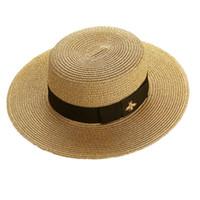 sombreros del cubo del vintage al por mayor-Sombrero de ala ancha para mujer Sombrero de paja de abeja dorada para mujer Moda Top plano Gorras tejidas Sombrero de cubo de diseñador de niña Sombreros de sol de verano Visor vintage