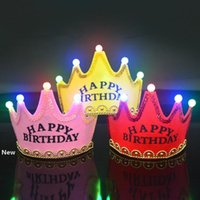 Wholesale lamp crown resale online - LED Birthday Crown Cap Glowing lamp Crown Hat King Princess Crown Headdress Happy Birthday Decorations Party Glitter Crowns GGA2960