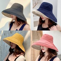 Wholesale red bucket hat men resale online - 2019 anti UV wide Brim cotton linen sun hat for women vacation summer panama foldable bucket hat large brim korean beach sun