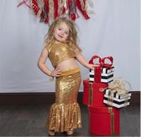 gold funkelnrock großhandel-Funkelndes Gold Zwei Stücke Blumenmädchen Kleider Juwel Meerjungfrau Röcke Erstkommunion Kleid Pailletten Meerjungfrau Kinder Party Kleid Weihnachtskleid