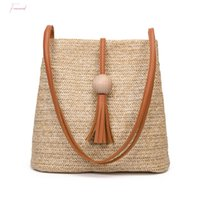 Wholesale handmade brown leather bag resale online - Bali Vintage Handmade Crossbody Leather Bag Round Straw Beach Bag Girls Circle Rattan Bag Small Bohemian Shoulder