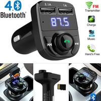 aux usb ses toptan satış-3.1A Hızlı Şarj Çift USB Araç Şarj FM Verici Aux Modülatör Bluetooth Araç Kiti Araç Ses MP3 Çalar