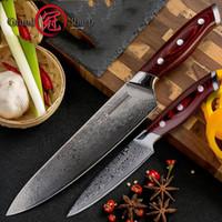 pc messer gesetzt großhandel-Damaskus Messer-Set 2 Stück Damaskus japanisches Edelstahl VG10 Chef Gebrauchsmesser Kochen Küche Kochmesser Pro Cooking Tools