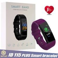 watchbands apple achat en gros de-ID115 Plus Bracelet Intelligent Fitness Tracker Montre Intelligente Montre De Fréquence Cardiaque Bracelet Intelligent Pour Apple Android Téléphones Mobiles avec Boîte