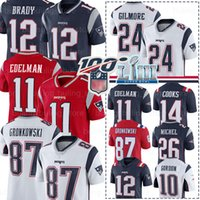 england patrioten großhandel-12 Tom Brady Trikots Patriot 10 Josh Gordon Gilmore New England 11 Julian Edelman 87 Rob Gronkowski Sony Michel Cooks Amendola Fußball