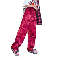pantalones de satén chino al por mayor-Pantalones Harajuku Mujeres Estilo chino Phoenix Dragon Totem Patrón Satén Pantalones rectos Unisex Hiphop Cintura elástica inferior Y19071801