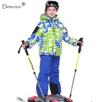 FREE SHIPPING skiing jacket+pant snow suit fur lining -20 DEGREE ski suit  kids winter clothing set for boys C18112301 a194895a9