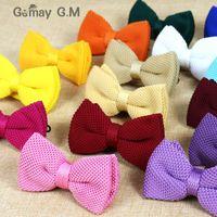 pajaritas de punto para hombre al por mayor-Nuevo hombre sólido de punto Bowtie Bow Tie para hombre Pre-Tied Bowtie de punto ajustable 20 colores gratis