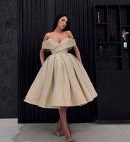 mezuniyet için basit elbiseler toptan satış-Basit şampanya arapça abiye mezuniyet elbisesi mezuniyet elbise Arabisch Abendkleider Kleider Kapalı Omuz ea-uzunluk vestido de novia