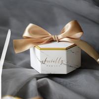 baby shower europa al por mayor-Nuevo estilo de mármol de Europa Caja de regalo Fiesta de cumpleaños de la fiesta de bienvenida al bebé Caja de dulces Cajas de chocolate dulce Favores de la boda Decoración