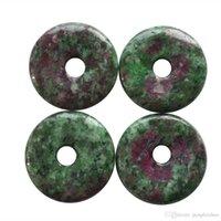 interessanter anhänger großhandel-4Pcs Interessanter schöner 30x5mm Rubin in Fuchsit Donut Anhänger
