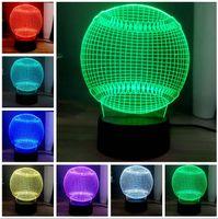 led aydınlatma deco masa toptan satış-Yaratıcı 3D Beyzbol Şekli LED 7 Renk Değiştirme Yatak Odası Başucu Topu Masa Lambası Softbol LED Gece Işık Bebek Uyku Aydınlatma Odası Masa Deco