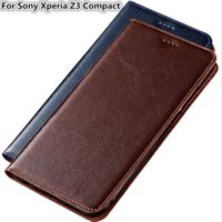 Wholesale cases for xperia z3 online – custom High Quality Phone Case For Sony Xperia Z3 Compact Genuine Cowhide Leather Phone Bag With Card Slot For Sony Xperia Z3 Compact Flip Case